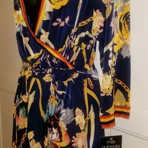 Mlle Gabrielle Dresses - Sexy Printed Navy Blue & Yellow Wrap Dress